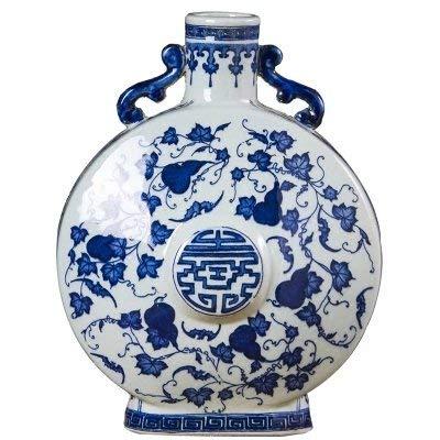 ZUQIEE Olla de Flores Imitación Antigua Porcelana Azul y Blanca de la...