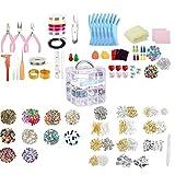 LjzlSxMF Suministros fabricación de Joyas Pendiente DIY Kit Set con Cuentas Alicates rebordeando el Alambre ewelry Hace Fuentes Kit para Collar Pulsera Pendientes 2035PCS