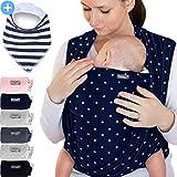 Portabebés azul marino con estrellas - para recién nacidos y bebés hasta 15 kg - hecho de algodón suave