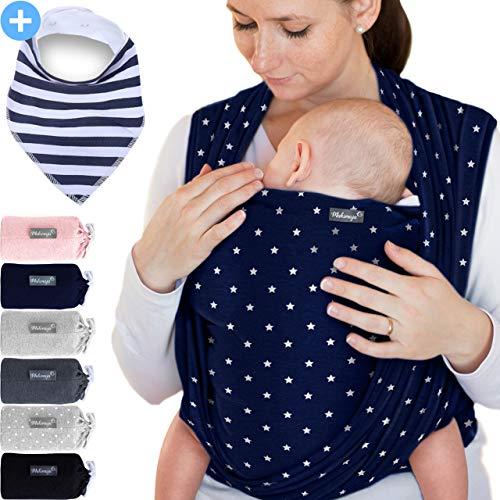 Babytragetuch Marineblau mit Sternen – hochwertiges Baby-Tragetuch für Neugeborene und Babys bis 15 kg - inkl. Baby-Lätzchen