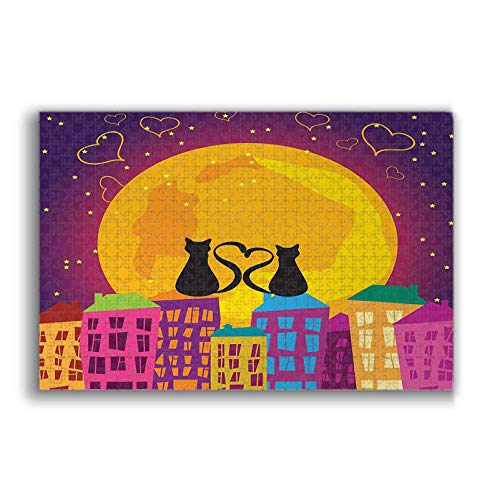Art Puzzle Cats on the Roof with Heart Shaped Tales Watching the Moon Light at Night in Town Artwork Art Large Size Jigsaw Puzzle Toy for Educational Gift Home Decor Purple Orange 500 Pieces