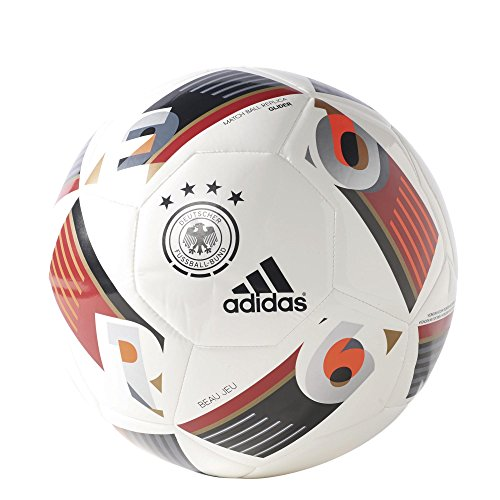 adidas Fußball EURO16 Capitano DFB der deutschen Nationalmannschaft Ball, Solar Red/Silver Met/Light Football Gold, 5
