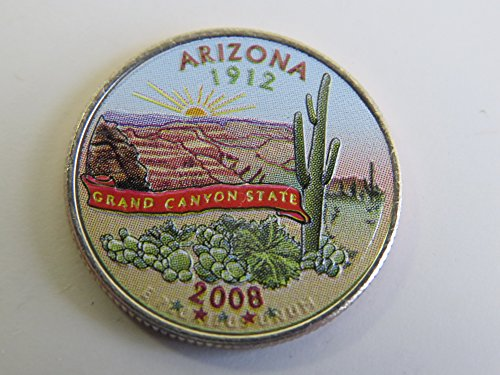 2008 Various Mint Marks Arizona State Colorized Quarter Choice Uncirculated