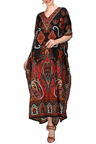 Miss Lavish London Frauen Damen Kaftan Tunika Kimono freie Größe Lange Maxi Party Kleid für Loungewear Urlaub Nachtwäsche Strand jeden Tag Kleider #102 [Schwarz EU 52-56]