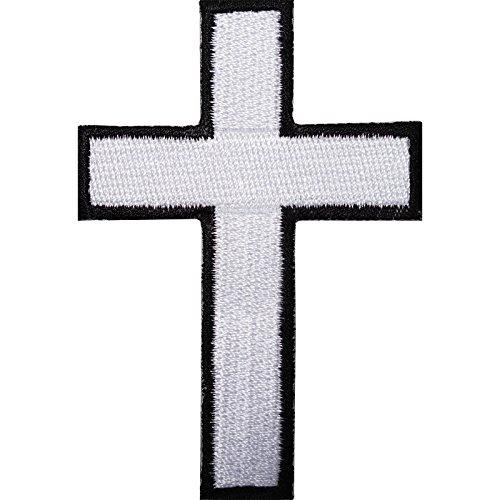 Parche bordado de cruz blanca para planchar o coser en camiseta, camiseta o chaqueta de motocicleta