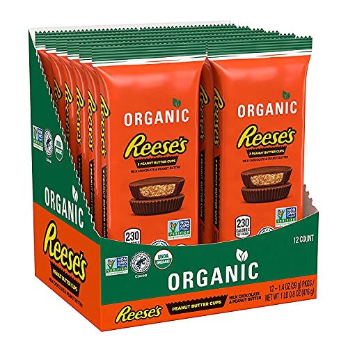 REESE'S Organic Milk Chocolate Peanut Butter Cups Candy, Non-GMO, 1.4 oz Pack