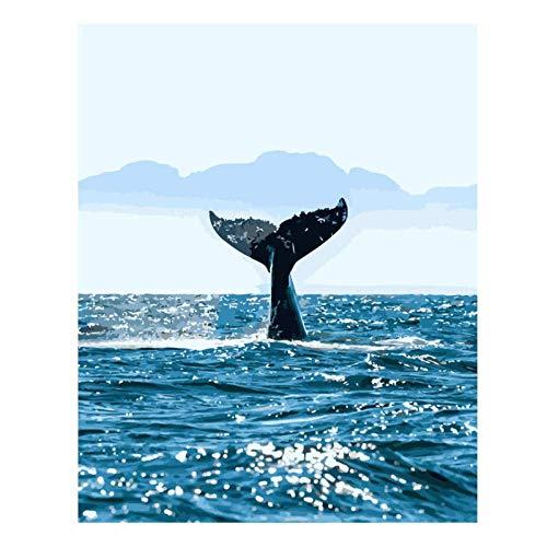 kldfig zee walvis olieverf schilderen door cijfers DIY foto tekenen kleuren op canvas schilderij door hand muurverf door aantal dier - 40x50cm unframed