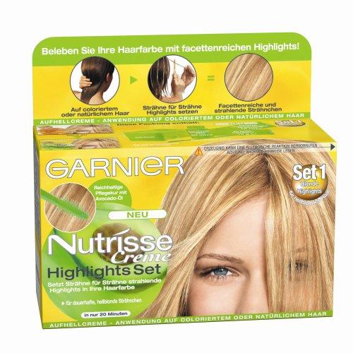 Garnier Nutrisse Creme Highlights Set 1 für helle Strähnchen, Strähnen Set zum selber machen für hellblondes Haar (mit Avocado-Öl), 1 Stück