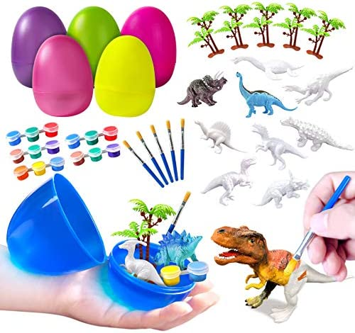 Easter Eggs Easter Basket Stuffers 6PCS Surprise Eggs with Painting Dinosaurs Figurine Paint product image