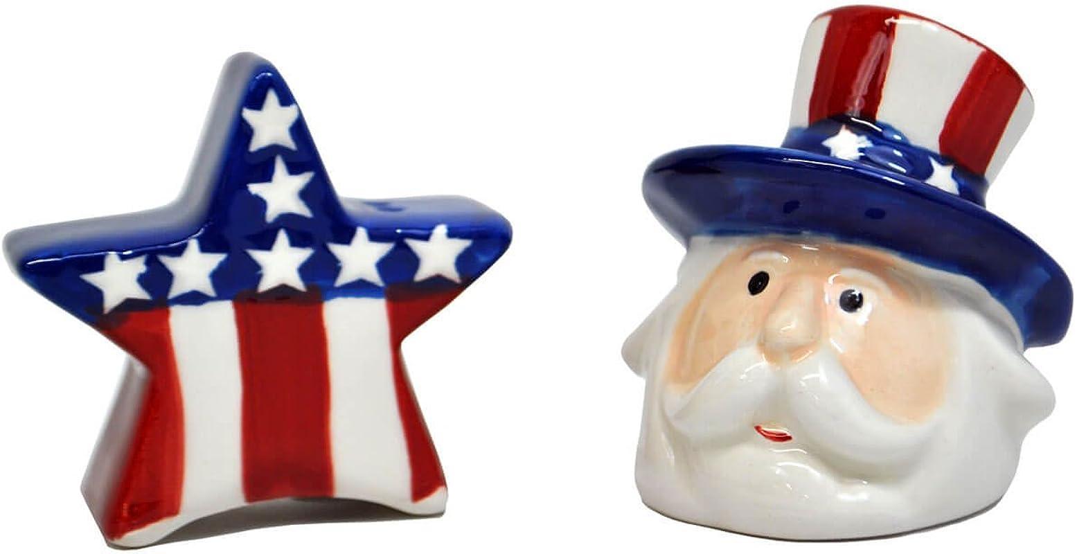 Uncle Sam Star Salt Pepper Set 2 In X 2 1 2 In