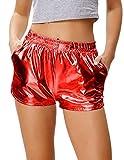 Kate Kasin Women's Yoga Hot Shorts Shiny Metallic Pants with Elastic Waist Red