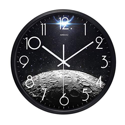 Everyday home Horloge murale non-cinglante ronde moderne minimaliste bureau chambre cadre en métal avec cadran en verre horloge à quartz (Couleur : NOIR, taille : 14 inches)