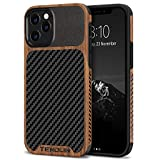 TENDLIN Funda iPhone 12 Pro MAX Madera con Carbono y Cuero Híbrido Carcasa Compatible con iPhone 12 Pro MAX (Negro)