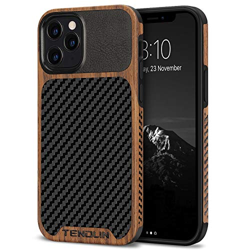 TENDLIN Compatible with iPhone 12 Pro Max Case Wood Grain with Carbon Fiber Texture Design Leather Hybrid Case