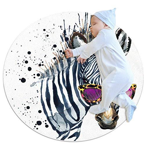 Haminaya Ronda niños alfombra redonda alfombra circular alfombra redonda alfombra alfombra alfombra de suelo redonda lavable a máquina, acuarela Hipster Zebra con gafas