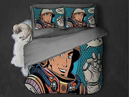 Astronaut Lightweight Design for Four seasons Middle Aged Sapce Man Gesturing and Saying OK Speech Bubble Space Themed Catroon Soft and Breathable with Zipper Closure (Queen) Multicolor