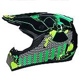 Casco de motocross para niños con gafas/máscaras/guantes, casco para niños Quad Bike ATV Go Karting (color: M (54-55 cm)