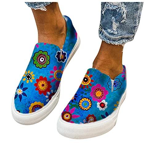 Dasongff Zapatillas de correr para mujer, con diseño de flores, de lona, transpirables, minimalistas, ligeras, para el tiempo libre, para hacer deporte, etc.