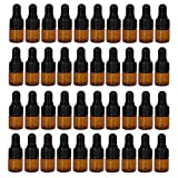 50 pack 1 ml 1/4 Dram Mini Amber Glass Sample Bottles with Glass droppers for Essential Oils,Chemistry Lab Chemicals,Colognes & Perfumes.