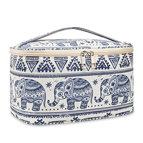 Travel Makeup Bag Large Cosmetic Bag Make up Case Organizer for Women and Girls (Large, Elephant)