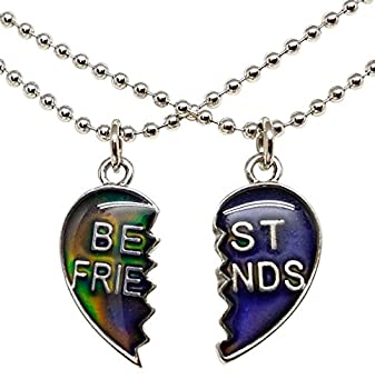 Cool Jewels Mood Best Friend Heart Necklaces for 2