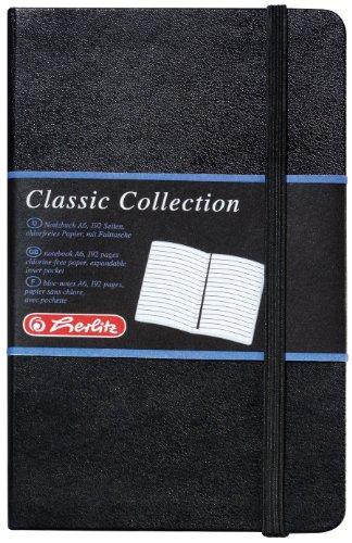 Herlitz 10789444 Geschäftsbuch, Lederoptik, schwarz, liniert, A6, 96 Blatt,Inhaltspapier 80g/m² Notizbuch Classic Collection