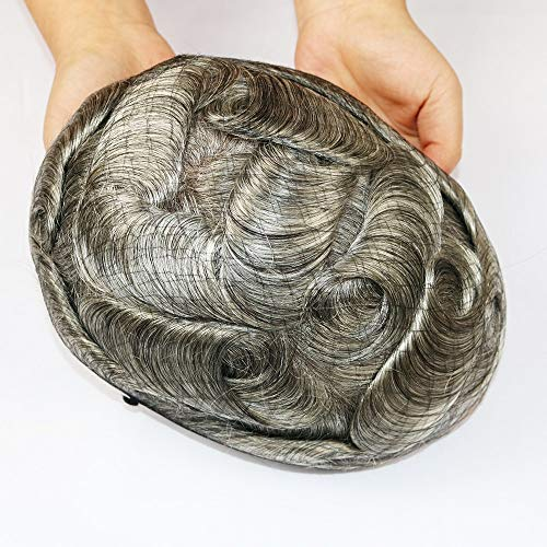 JPDP hair Toupee For Men with 8x10 inch Soft French Lace Cap with 2inch clearly PU in Back Natural Wave Men's Wig 5x7 20#