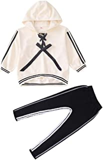Mornyray Little Girls 2 Piece Outfit Set Casual Hooded Pullover and Elastic Pants