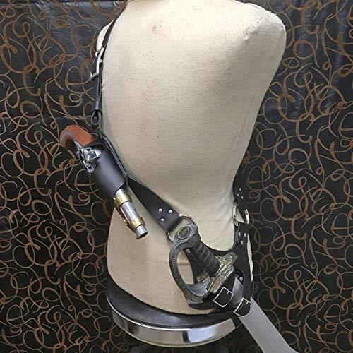 MKIU Cinturón De La Rana De La Espada, Correa Medieval del Renacimiento Vaina De Cuero PU Cinturón Ajustable Arma De Caballero De La Ropa Rapier Anillo Funda