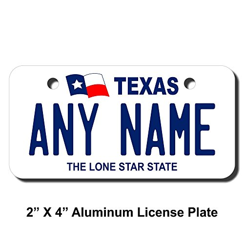 TEAMLOGO Personalized Texas License Plate - Sizes for Kid's Bikes, Cars, Trucks, Cart, Key Rings Version 1 (3 X 6 Aluminum License Plate)