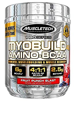 MuscleTech Myobuild BCAA Amino Acids Supplement, Muscle Building and Recovery Formula with Betaine & Electrolytes, Fruit Punch Blast, 45 Servings (416g), 14.68 Ounce
