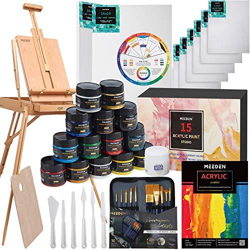 MEEDEN 40 piezas Kit de pintura de artista de con caballete de estilo francés, juego de pintura acrílica, pinceles, panel de lona, lienzo estirado, para artistas, principiantes y adultos