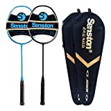 Senston N80-2 Pack Graphite High-Grade Badminton Racquet, Professional Carbon Fiber Badminton Racket Included Black Blue Color Rackets 2 Carrying Bag