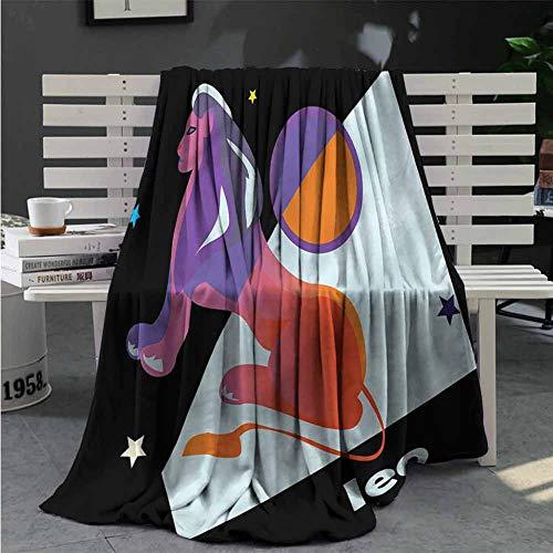 Hilary Nelly Zodiac Leo Plush Blanket for Bed Couch Constellation Theme Star All Season Premium Fluffy Blanket W70 x L84 Inch