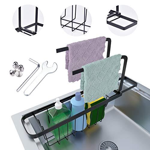 EVILTO Telescopic Sink Rack HolderExpandable Sponge Soap Brush Storage Drainer Removable Dish Cloth 2 in 1 Organizer Sink Basket for Kitchen