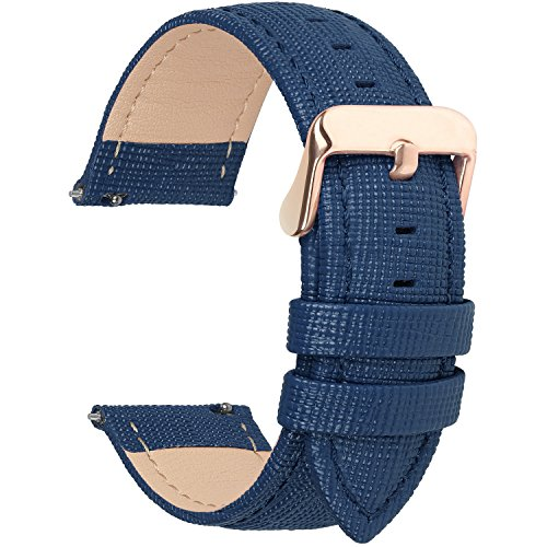 6 Colors for Quick Release Leather Watch Band, Fullmosa Cross Genuine Leather Replacement Watch Strap with Stainless Metal Clasp 18mm Dark Blue