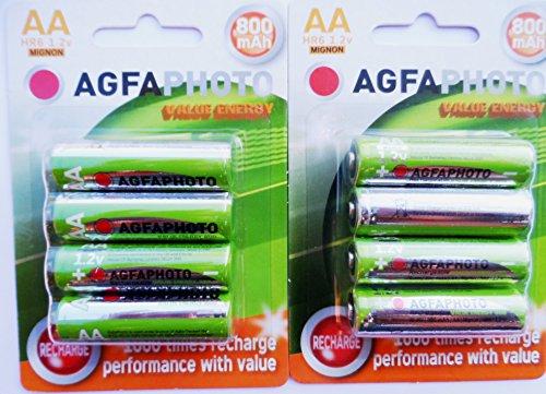 8x Solar Garten Licht Agfa AA 800mAh wiederaufladbare Akkus 1,2V NiMH