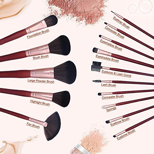 Lot de 15 pinceaux de maquillage doux pour fond de teint, estompe, eyeliner, poudre, maquillage