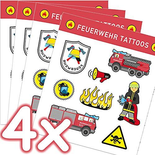 Mega-Tattoo-Set * Feuerwehr * als Mitgebsel, Geschenk oder zum Spielen   4 Bögen mit 32 Tattoos   Sam Aufkleber Bilder Sticker Kinder Kindergeburtstag Geburtstag Feuerwehrmann Feuerwehrauto