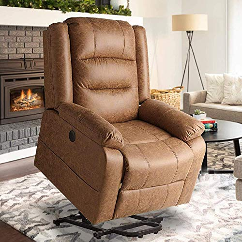 oneinmil Electric Power Lift Recliner Chair, Leather-Like Fabric Recliners for Elderly, Home Sofa Chairs with Heat & Massage, Remote Control, 3 Positions, 2 Side Pockets and USB Ports, Brown