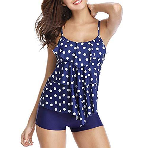 DAIYO Zweiteiliger Bikini-Bikini-Set Für Damen Mit Konservativer Hoher Taille Schnelltrocknender Tankinis-Badeanzug Für Damen