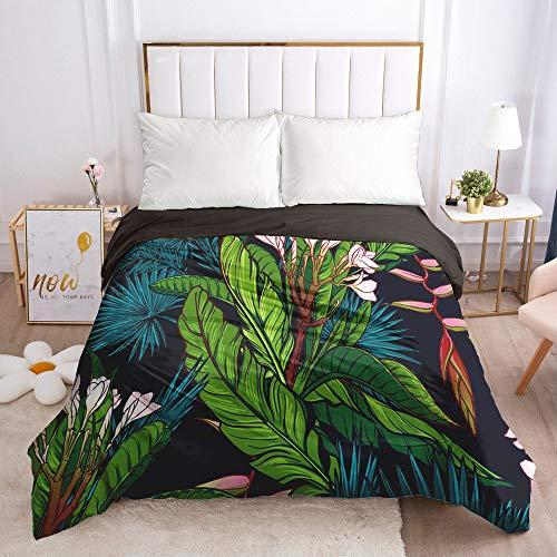 Dollin&Dockin Home Beddengoed van textiel, 3D zwart, groene plant, varen, slapen, comfortabel, ademend, ritssluiting, koningin, klassiek, maat past iedereen.