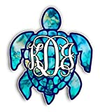 Sea Turtle Monogram Initials Cyan Dream Vinyl Bumper Sticker Decal 5'