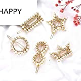 Romanticngt 2 PC-Perlen-Haar-Clips eleganten Haar-Halter-Dekorationen Französisch Jahrgang HaarBarrettes Haarnadel Hair Styling-Zubehör for Geschenke Geburtstags-Party Hochzeit Tag (Color : F)