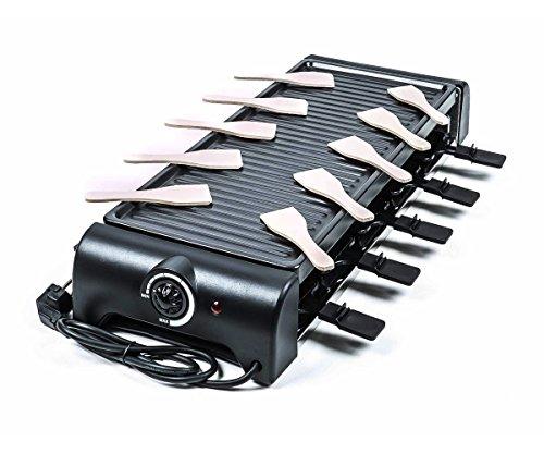 Raclette-Grill für 10 Personen, Thermostat, Kontrollleuchte, vielseitig, schwarz, Größe64x24x10,5cm, 1500W