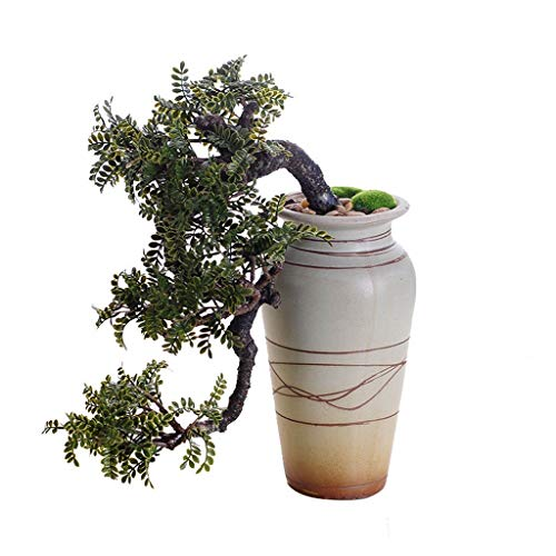 NYKK Artificial Bonsai Tree Realistic Faux Cedar Bonsai Tree, Houseplant, White Ceramic Flower Pot, Pebbles, Padded Bottom, Over 1 Ft Tall, (H39cm) Faux Potted Plant
