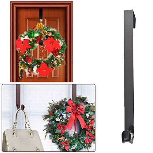 Macabolo - Percha de metal para puerta con corona de Navidad