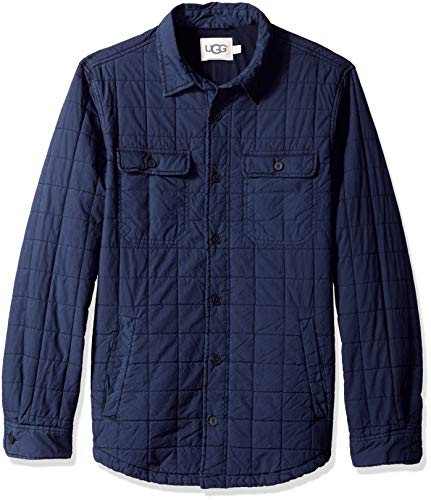 UGG Men's M Trent Quilted Shirt Jacket, navy, S