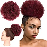 Afro Kinky Curly Hair High Puff for Black Women Short Black Burgundy Cute Wrap Drawstring Ponytail Bun Extensions with 2 Clips Christmas Gift(1B/Bug)