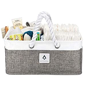 AvitaVera Baby Diaper Caddy Organizer – Nursery Storage Basket and Bag for Changing Table/Car